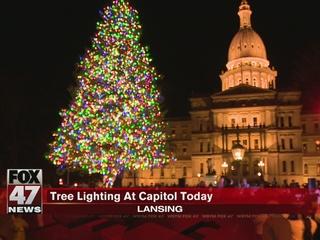 Lansing celebrates tree lighting at Capitol