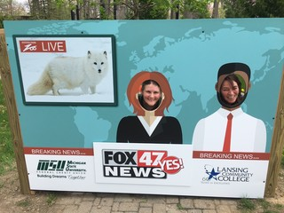 FOX 47 installs mock news desk at Potter Park!