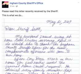Letter thanks local officers for act of kindness