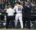 Tigers pitcher Ferrell hit in head by liner
