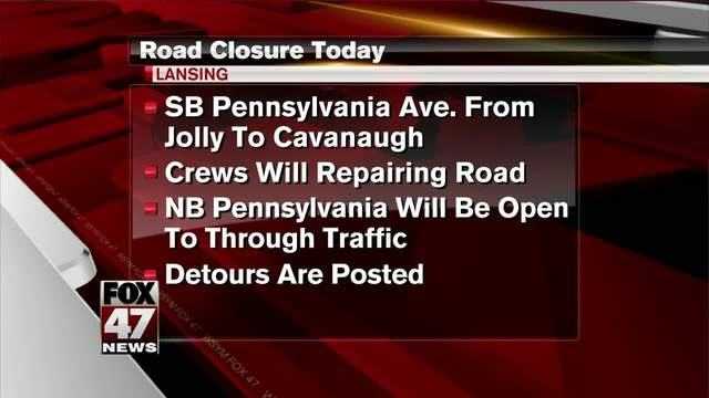 Southbound Pennsylvania Ave  closed for road construction