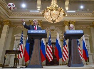 World Cup host Putin gives Trump a ball