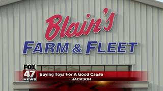 Blaine's Farm and Fleet matching toy donations